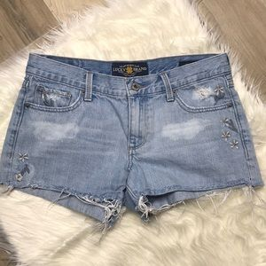 Lucky Brand The Cut Off Embroidered Jean Short 26